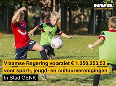Vlaanderen voorziet 1.250.253,53 euro voor sport-, jeugd- en cultuurverenigingen in Stad Genk