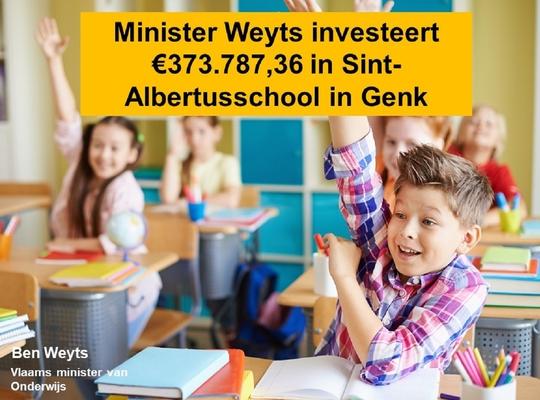 Minister Weyts investeert in Sint-Albertusschool in Genk